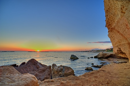 a view of Nerones cave at sunset