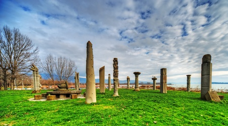 modern sculptures called lago del sole in Tuoro on Trasimenos lake river