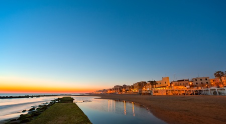 a view of anzios harbour at sunset  Stock Photo