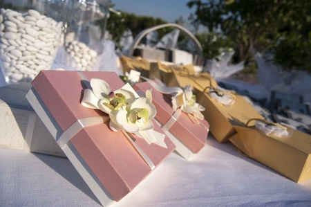 favors on a table outdoor with boxes for wedding Stock Photo - 9584449