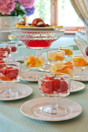 some decoration with fruit during a wedding banquet photo