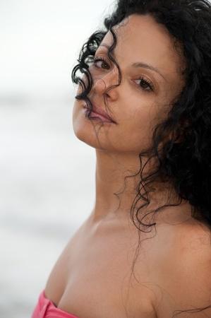glamorous european brunette girl smiling at camera Stock Photo - 9789263