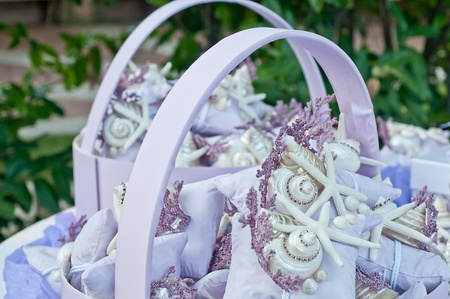 party favors: favors on a table outdoor with boxes for wedding