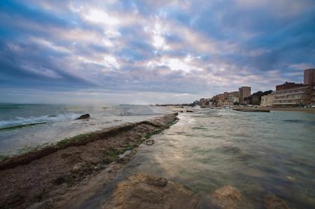 view of Nettuno beach, historic city south of Rome