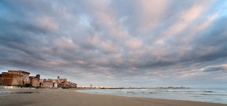 view of Nettuno beach, historic city south of Rome
