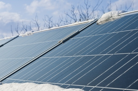 conceptual idea of energy limited during winter of photovoltaic panels photo