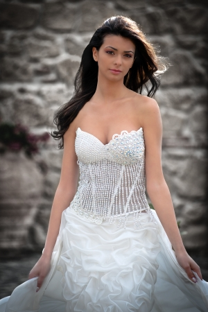 just one young girl just married, with wedding dress  Stock Photo