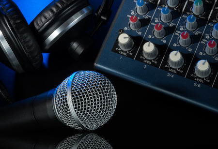 deejay music equipment on black background  Stock Photo
