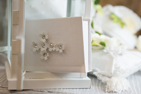 favors: Favors on a table outdoor with boxes for wedding event selective focus Stock Photo