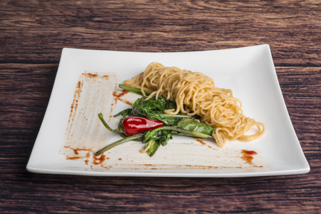 vermicelli with tomato vegetables and chili pepper Stock Photo