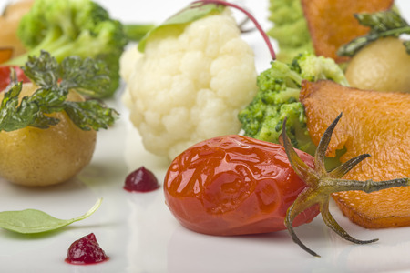 various vegetables composition on a white dish