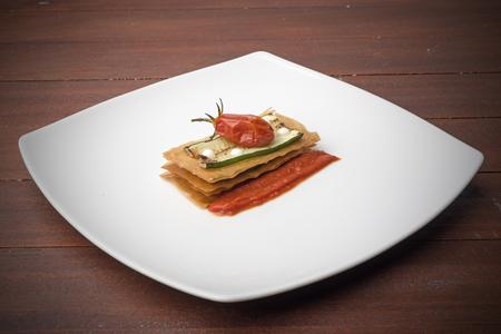 zucchini sandwich with tomato and mozzarella