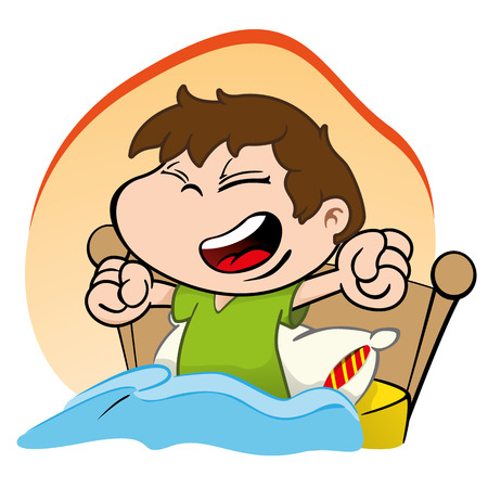 cartoon bed: Illustration is a child waking up and getting up Happy bed Illustration