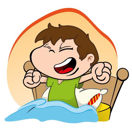 despertarse: Ilustración es un niño despertando y levantándose cama feliz