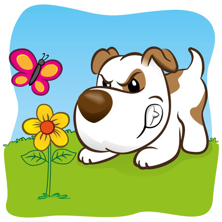 Illustration representing a pet dog barking angry for a butterfly on flower. ideal for training materials, catalogs and institutional veterinarian Imagens - 35760857