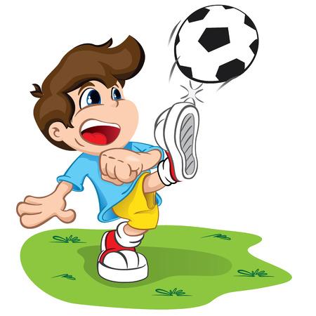 La ilustración es un niño personaje patear una pelota. Ideal para la salud y la información institucional. Vectores
