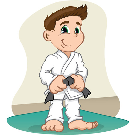 judo: La ilustración es un luchador de carácter infantil de artes marciales, judo, karate, jujitso, taekwondo. Ideal para los deportes y la información institucional