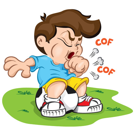 Illustration is a character child with cough and sitting on a ball. Ideal for health and institutional information