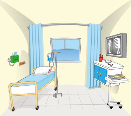 window curtains: This illustration and background setting of a hospital room