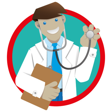 school nurse: Man coat, doctor or pharmacist botton