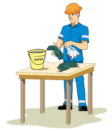 wet cleaning: Illustration representing an employee cleaning work material