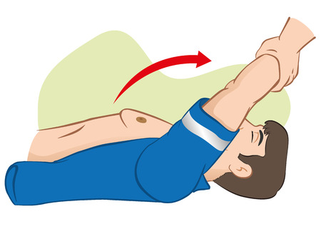 drowned: First Aid cardiopulmonary resuscitation (CPR), Sylvester carrying arms. For resuscitation. Ideal for training materials, catalogs and institutional Illustration