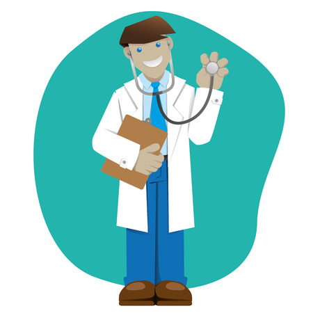 Illustration representing mans jacket, doctor or pharmacist with a clipboard and a stethoscope, ideal for field training and internal Vector