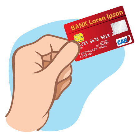 holding credit card: Illustration represents the close of a hand holding a credit card ideal design for financial campaigns