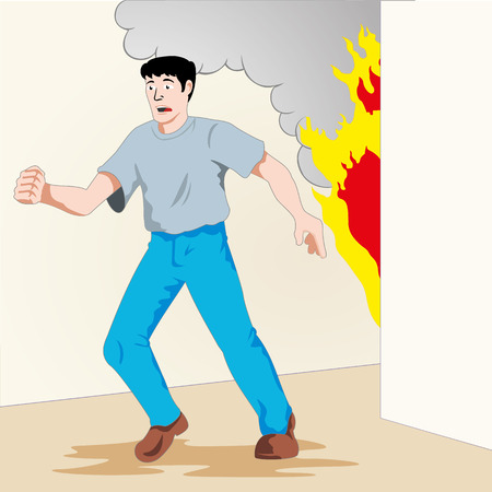 choking: Illustration is safety, man running from a fire