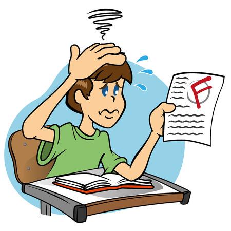 ni�o escuela: Ilustraci�n de una mascota de car�cter triste y preocupado Estudiante con baja nota que tomaron el examen, ideal para el entrenamiento de campo e interna