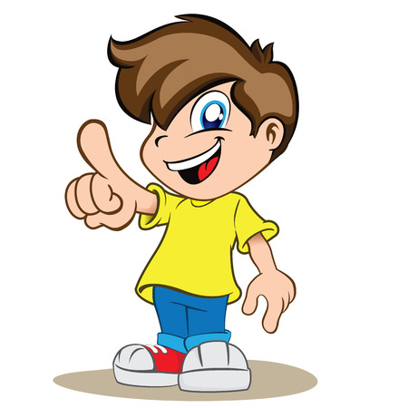 Illustration is a happy boy child, pointing or showing something Stock Illustratie