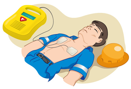 Illustration is an employee with portable defibrillator for resuscitation. Ideal for tutorials relief and medical manuals