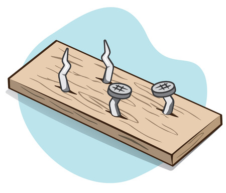 Illustration representing a wooden piece with exposed sharp nails, ideal for educational books and institutional material Illustration