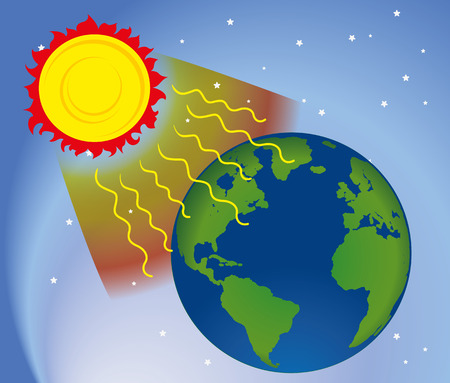 ozone layer: Graphic environment in nature, UV ultraviolet radiation Illustration