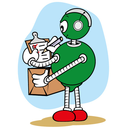 charismatic: Illustration of a robot character mascot, under general services and writing on a clipboard with a pencil while holding a box, ideal for field training and internal Illustration