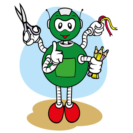 demonstrate: Illustration of a robot character mascot, under general services and office, ideal for field training and internal