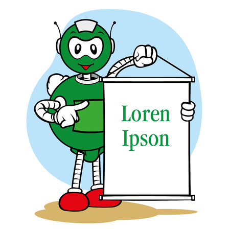 publicist: Illustration of a robot character mascot, under general services and holding a sign, ideal for field training and internal