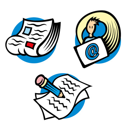correspond: Icons and symbols illustration of information and communication