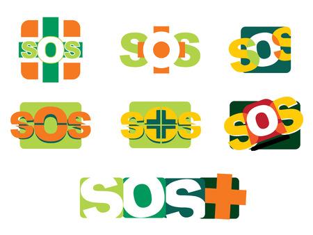 Illustration SOS distress icons Illustration
