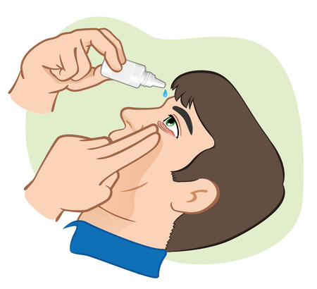 Eye drops Medicament illustration to ping us angry eyes. ideal for training materials, catalogs and institutional Banco de Imagens - 35777323
