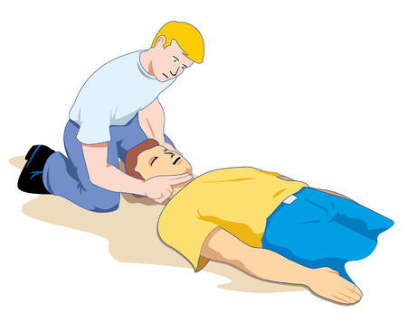 first aid: This scene shows a first aid person providing assistance to another person unconscious Illustration