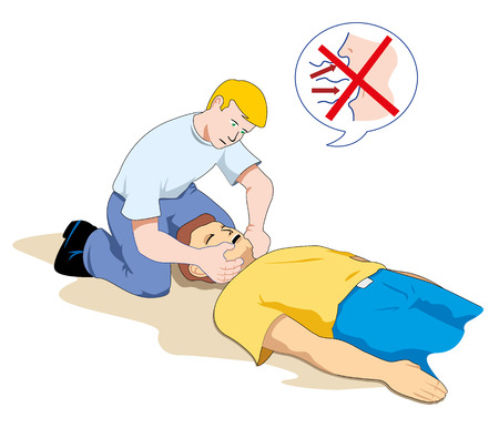 providing: This scene shows a first aid person providing assistance to another person unconscious Illustration