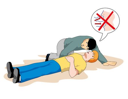 This scene shows a first aid person providing assistance to another person unconscious Illustration