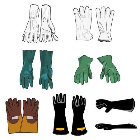 Illustratie die een veiligheidsharnas modellen van beschermende handschoenen