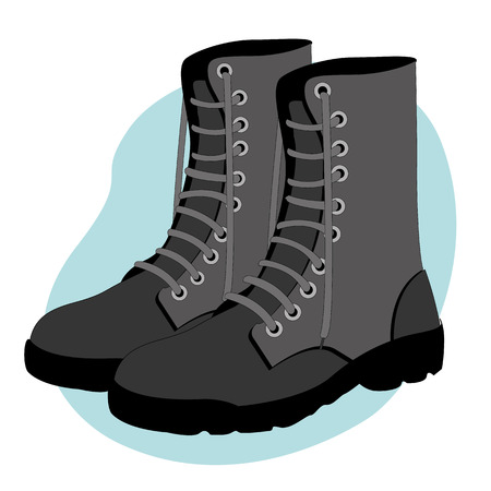 leather shoe: Illustration representing a military combat boots safety equipment
