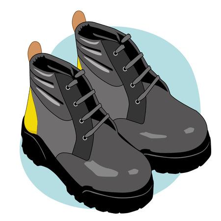 zapatos de seguridad: Ilustración que representa a un equipo de seguridad bota de cuero aislante Vectores