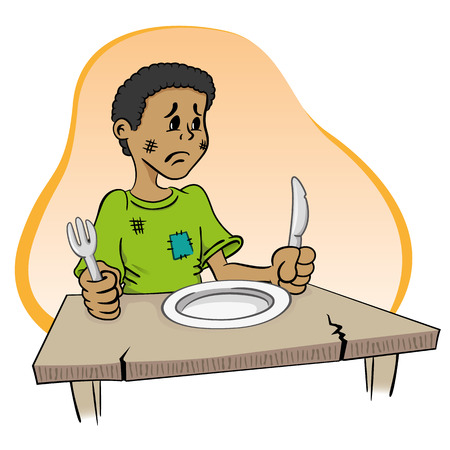 Illustration representing a child sitting without food on the table Illustration