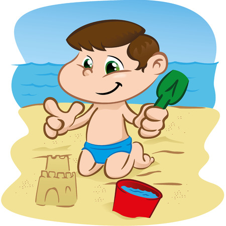institutional: Illustration is a character character child playing on the beach. Ideal for sports and institutional information