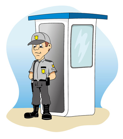 institutional: Job security in a guardhouse, standing guard, ideal for training material and institutional