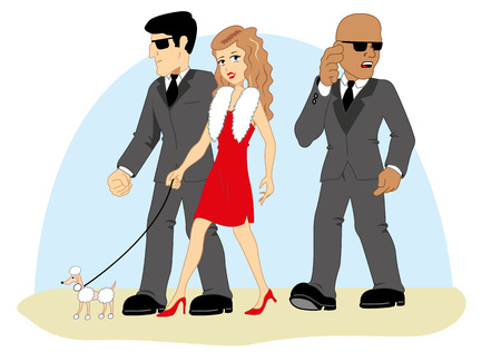 escorting: Security guards escorting a person Illustration
